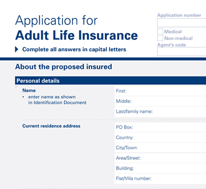 Applying for cover, the application form